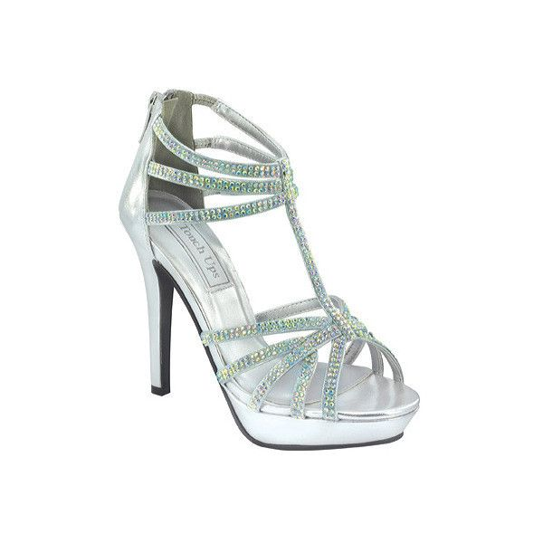 Women's Touch Ups Toni ($81) ❤ liked on Polyvore featuring shoes, sandals, silver, sparkly sandals, evening bridal shoes, strappy high heel sandals, high heel sandals and metallic platform sandals