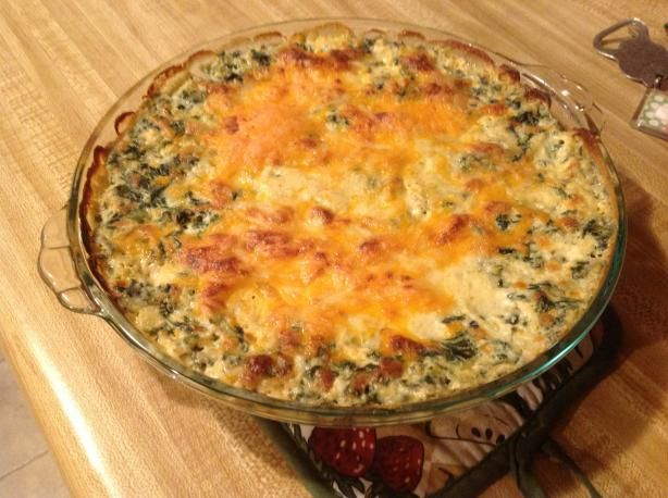 Cheddar's Restaurant Spinach Dip- 1 c. half and half, 1 c. monterey jack cheese, 8 oz. cream cheese, 4 oz. green chilies, 1 onion (chopped), 1 jalapeno (chopped), 10 oz package frozen spinach (drained/squeezed dry)----- Mix all ingredients. Bake at 400 degrees for 1/2 hour.