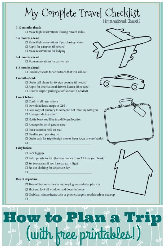 Planning a trip is a lot easier if you break it down into simple tasks. These checklists will make it simple for you!