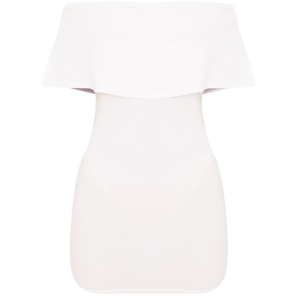 Carley White Bardot Frill Bodycon Dress (€24) ❤ liked on Polyvore featuring dresses, white body con dress, cut out shoulder dress, white cocktail dress, cutout shoulder dresses and flutter-sleeve dresses