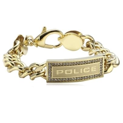 Police Lowrider Gold Plated Cubic Zirconia ID Bracelet 25144BSG-01-S. This stunning gold plated bracelet from Police is highly stylish. Its stainless steel, gold plated links are joined firmly with the Police ID tag, which is surrounded by stunning cubic zirconia. This piece of jewellery is sure to make a statement.