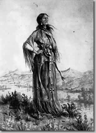 """Sacajawea is most well know for accompanying Meriwether Lewis and William Clark during their Corps of Discovery of the Western United States in 1806. She was born in a Shoshone tribe as Agaidika, or """"Salmon Eater"""" in 1788. In February of 1805, just after meeting Lewis and Clark, Lewis assisted in the birth of her son, Jean Baptiste Charbonneau. Her face now appears in the dollar coin."""