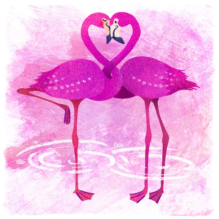 Flamingoes in love, created for colour collective on twitter. The colour theme was shocking pink.