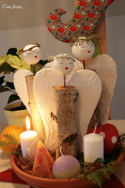 Advent angels, made with recycled materials.