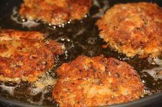 Salmon Croquettes 1 14.75 oz can pink salmon 2 eggs 1/4 cup chopped onion 1/4 cup all purpose flour 2 tablespoons yellow corn meal 1/2 teaspoon salt 1/2 teaspoon ground black pepper Pour all of the ingredients into a large bowl and mix them. A large spoon or a potato masher works just fine. I add the flour last because I sometimes adjust the amount to control the consistency. Mold the dough-like mix that you end up with into patties (like thick homemade hamburgers).