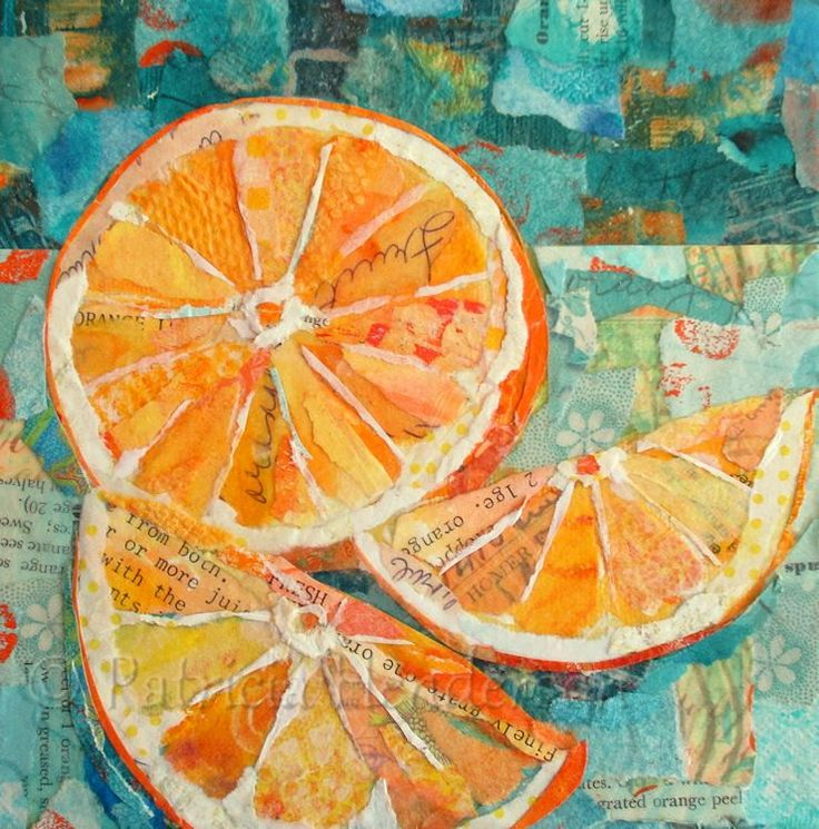 "JUICY FRUIT Original Paper Collage Orange Painting 6 X 6"" on Gallery wrapped canvas by PatriciaHendersonArt on Etsy"