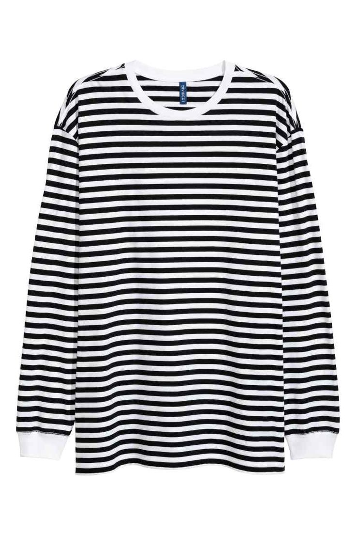 Camisola oversize em jersey - Branco/Riscas pretas - HOMEM | H&M PT 1