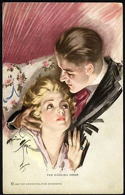 ROMANCE-in-Evening-Hour-by-HARRISON-FISHER-Postcard-1917-In-Love-Man-and-Woman