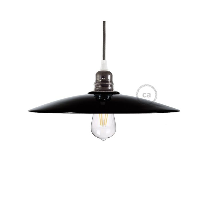 Zwart glazuur keramische schijfvorm lampenkap voor verlichtingspendel met koperkleurig binnenwerk