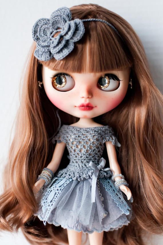 #Blythe #gray #dress #crochet #PblCb #LenivkaShop #craft #handmade