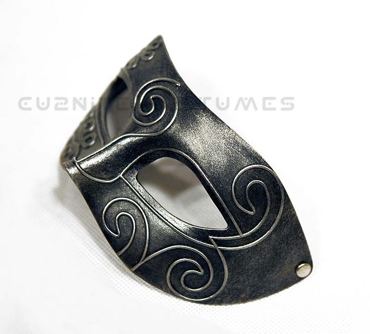 Burnished Titanium Grey Mens Masquerade Mask - Mcu981g