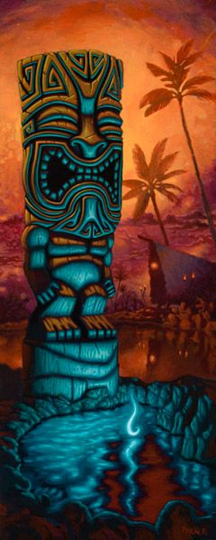 Fine Art Giclée Print by Brad Parker Blue Tiki against Hawaiian background