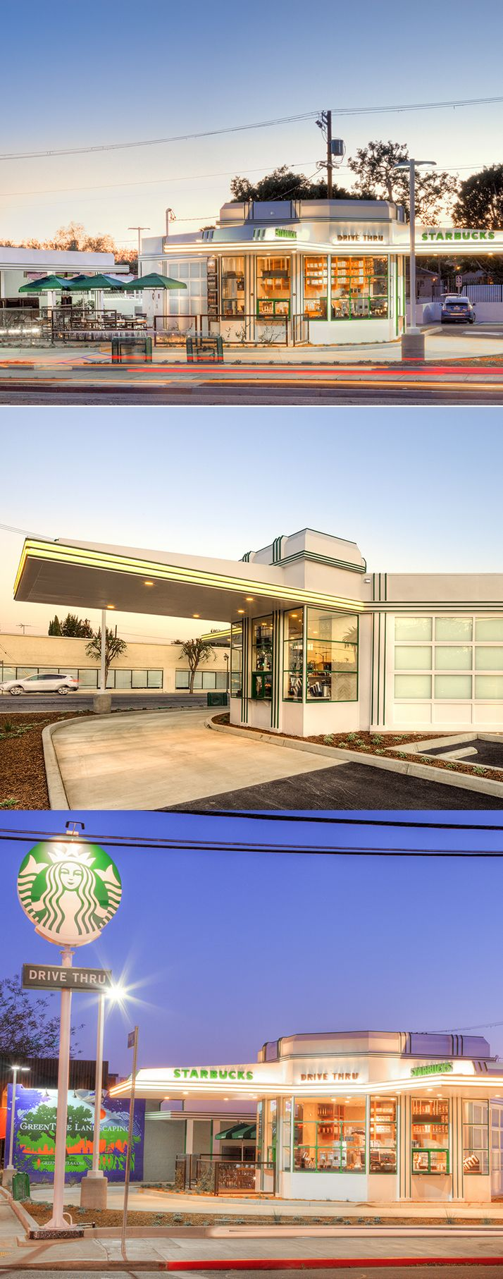 Once a gas station, now a coffee house. Built at the start of the automobile age and the golden era of filmmaking, this store has become an iconic restoration of a historic California landmark.