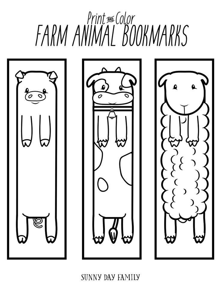 Free Printable Farm Animal Bookmarks For Kids To Color Coloring Bookmarks Bookmarks Kids Coloring Bookmarks Free