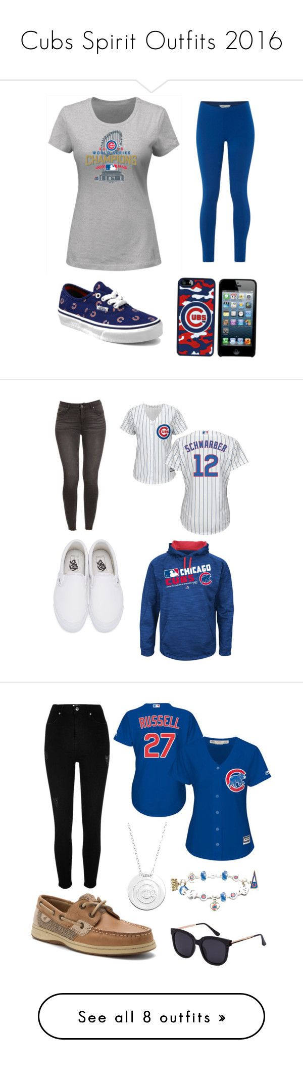 """""""Cubs Spirit Outfits 2016"""" by sprinkles101 ❤ liked on Polyvore featuring Majestic, White Stuff, Vans, River Island, Sperry, The Bradford Exchange, NIKE, Stitches, UGG and New Era"""
