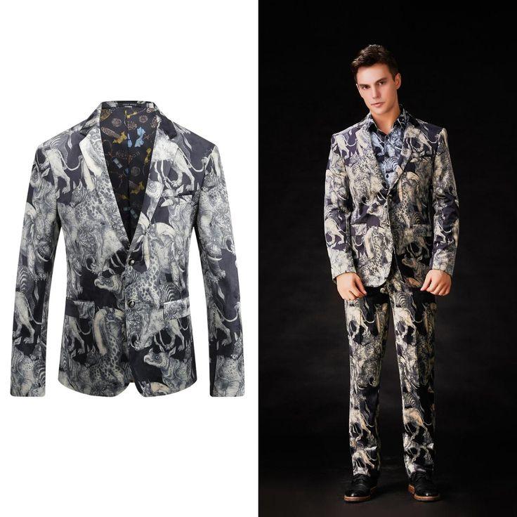 OSCN7 Autumn 2017 New Blazer Men Fashion Printed Party Leisure Blazer Jacket Plus Size Casual Blazer Masculino