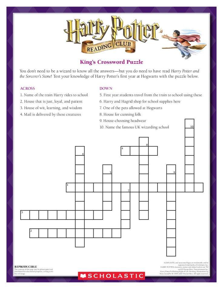 harry potter scholastic crossword puzzle crossword puzzle