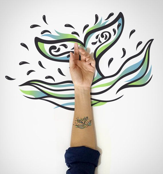 Whale Tail Temporary Tattoo / Decorative Whale by EasternCloud