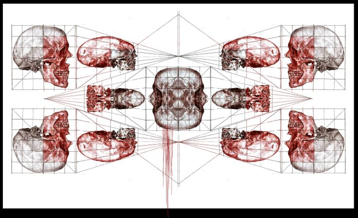 geometrical skull study, graphite on paper, edited in photoshop Virag Papp, 2012 #skull #anatomy #geometry #study