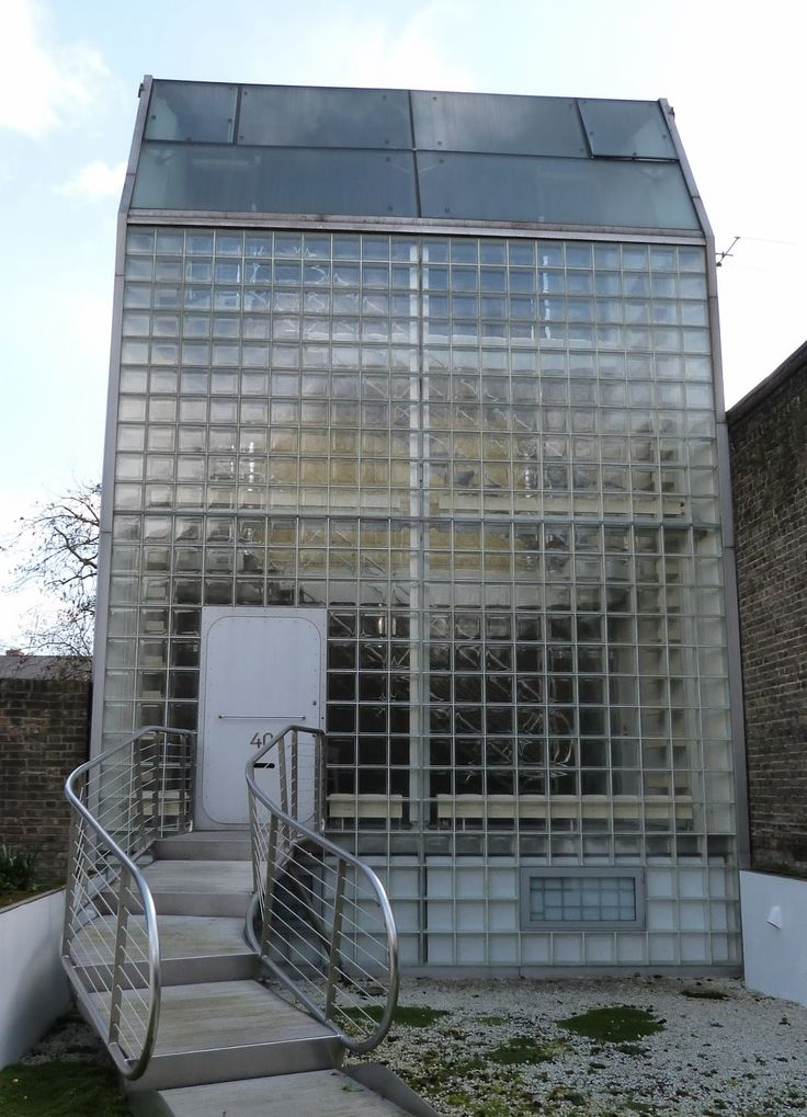 A house constructed in glass. (Jan Kaplicky and Amanda Levete for Future Systems 1993-4). It's near Highbury & Islington Tube station in London