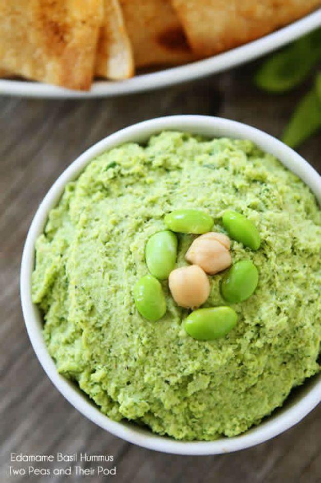 Delicious Edamame & Basil Hummus Recipe   St Patricks Day Food Recipes By DIY Ready. http://diyready.com/17-delicious-irish-appetizers-for-st-patricks-day/