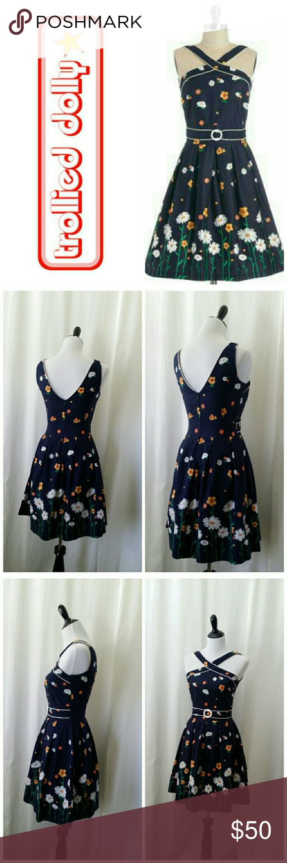 Trollied Dolly Cross My Heart Dress UK Dress Company Trollied Dolly Cross My Heart Dress-Navy Bordered Daisy-collectors item.  Sunshine on a hanger!  Cute and coy 50's inspired sun dress in a navy blue based print with contrast white piping and cascading daisies.   Time to twist n shout, the sun is out!  100% Cotton In Excellent Used Condition Dresses