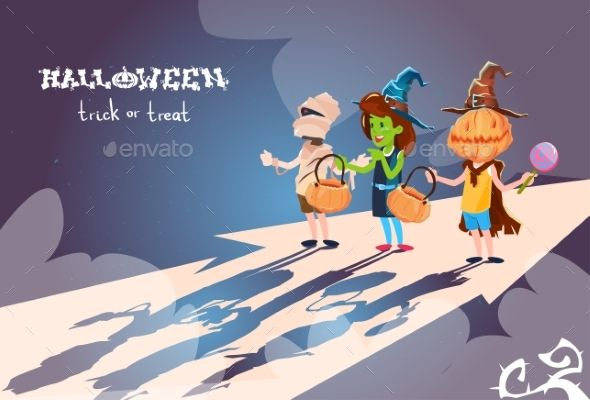 Happy Halloween Banner Chilren Ib Costumes Party