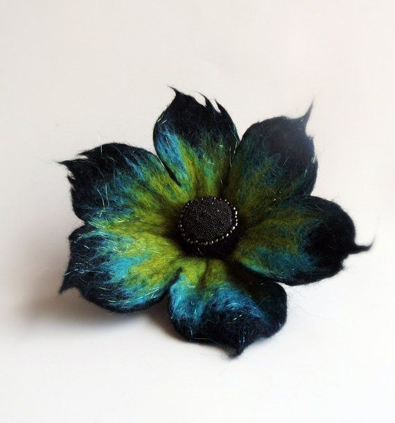 Crazy Peacock Flower , Felted Flower Brooch,Felted Jewelry,black turquoise and yellow flower