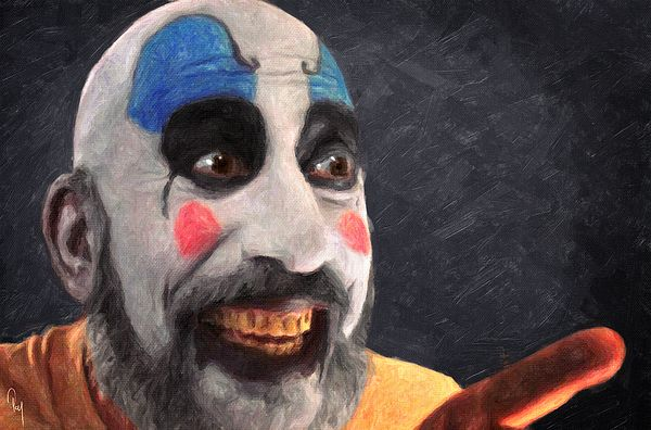 Captain Spaulding, rob zombie, house of 1000 corpses, clown, doctor satan, sid haig, otis driftwood, baby firefly, the devil's rejects, horror, movie, film, cult, zombie, monster, dark art, poster, decorative, home decoration, cinema, painting, oil on canvas, portrait, impasto, scary, halloween, spooky, haunted, gothic, fantasy, character, dead, death, murder, murderer, serial killer, hollywood, living room, bedroom, office, cafe, bar, cool, ugly, skull, rock, music, gift ideas, best seller
