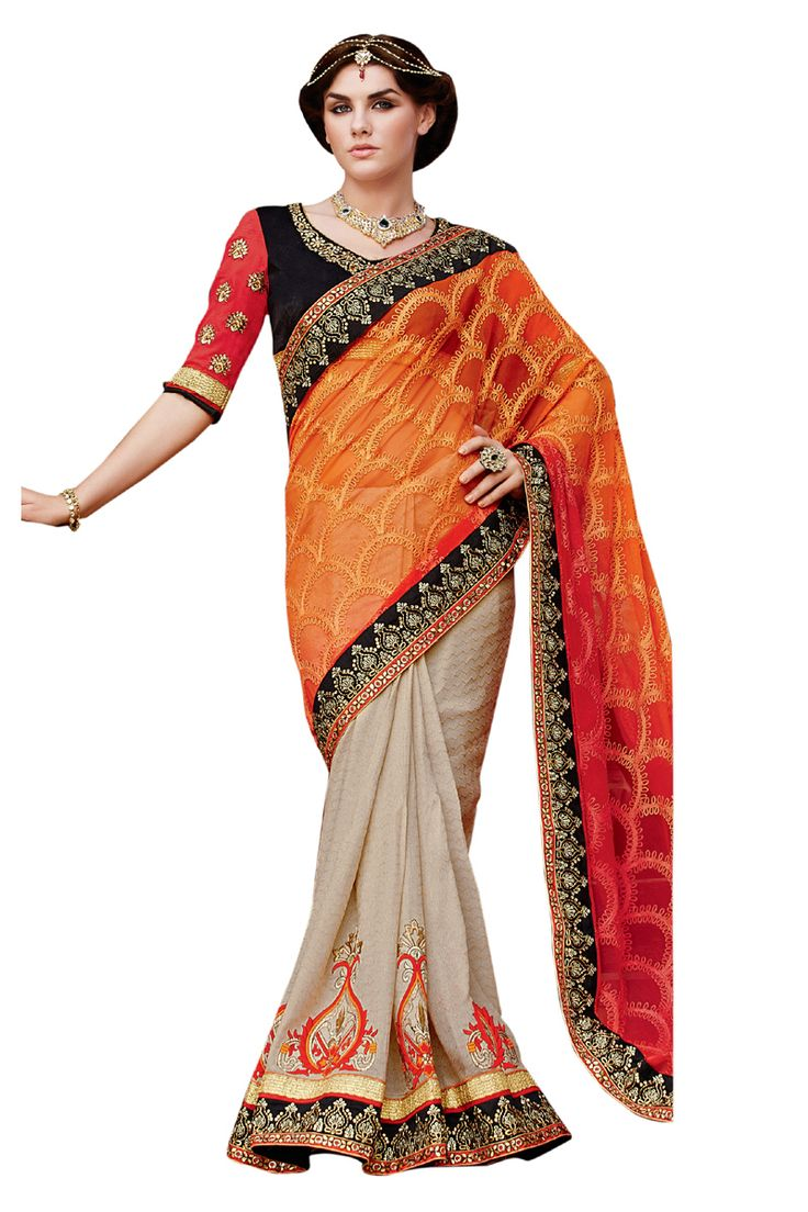 Buy Now Orange Net Heavy Zari Embroidery Work Wedding Saree With Heavy Work Blouse only at Lalgulal.com  Price :- 7,492/- inr. To Order :- http://bit.ly/21Z0vgl COD & Free Shipping Available only in India #sarees #weddingsaree #saris #weddingwear #bridalwear #halfandhalf #allthingsbridal #bridalsuits #ethnicfashion #celebrity #shopping #fashion #bollywood #india #indiafashion #bollywooddesigns #onlineshopping #designersaree #partywear #collection #designechoice #wedding #designer #womenswear