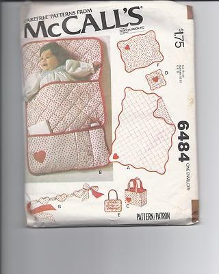 Mccalls 6484 Baby Accessories Pattern Quilt Bunting Crib