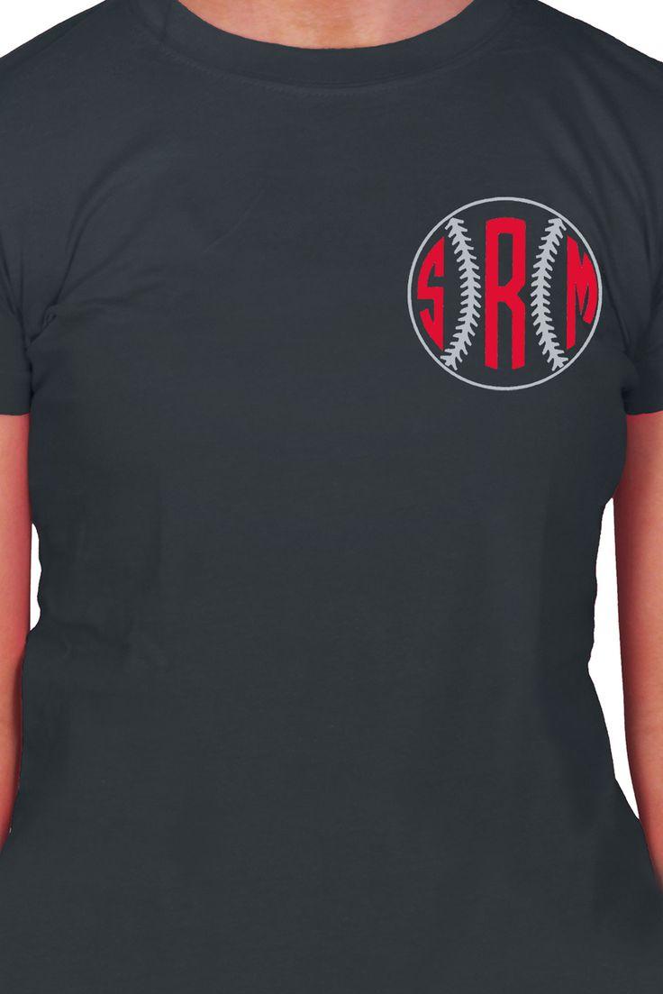 Design t shirt idea - Baseball Softball Monogram Ladies Short Sleeve Fitted T Shirt Design Sp52 Choose Your Colors
