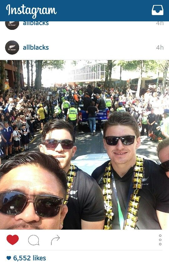 All Blacks Street Parade in Wellington. RWC Street Parade in Wellington. Ula lole worn by Nehe Milner-Skudder and Beauden Barett.