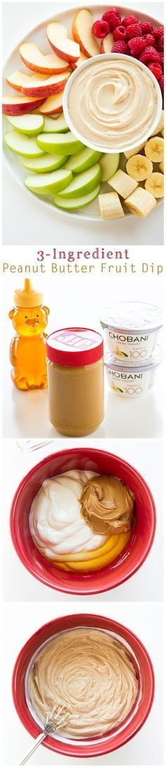 Peanut Butter Fruit Dip - only THREE ingredients and the easiest dip you'll ever…