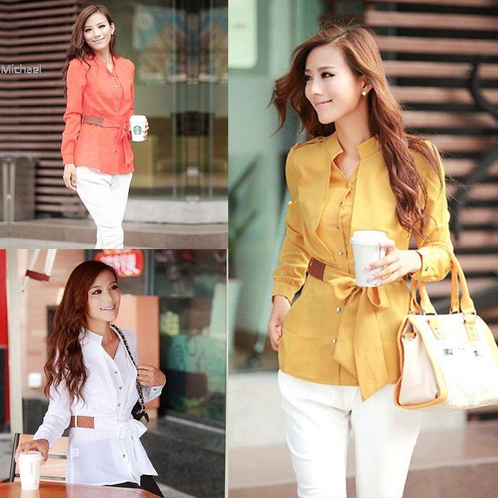 Ucuz Sıcak Satış! Moda Kadınlar Ofis Gömlek Şeker Renk Kemer Ile Kariyer Iş…