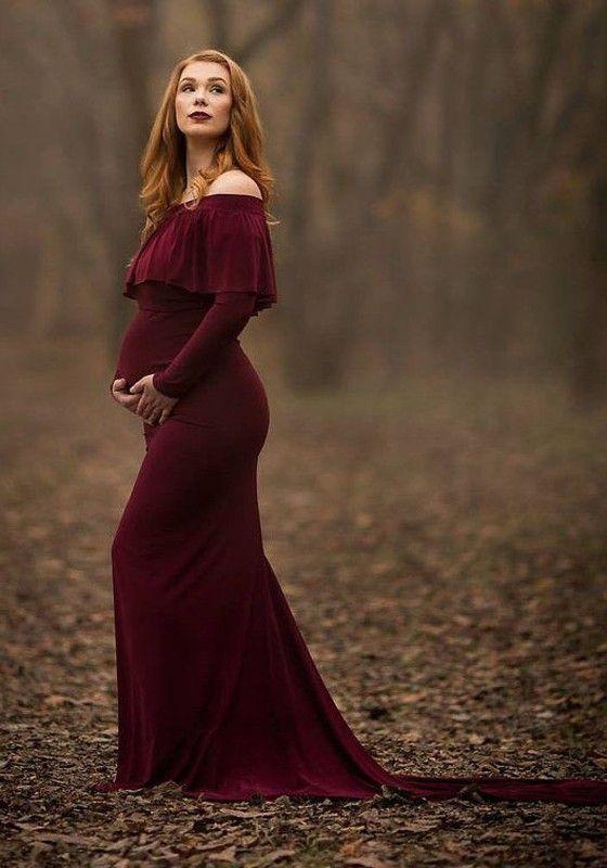 8cf8b8bac64f Burgundy Ruffle Off Shoulder Backless Long Sleeve Elegant Maternity Maxi  Dress