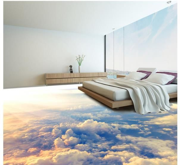 Custom Photo Floor Wallpaper 3D Stereoscopic 3D Clouds Floor 3d Mural PVC  Wallpaper Self Adhesion