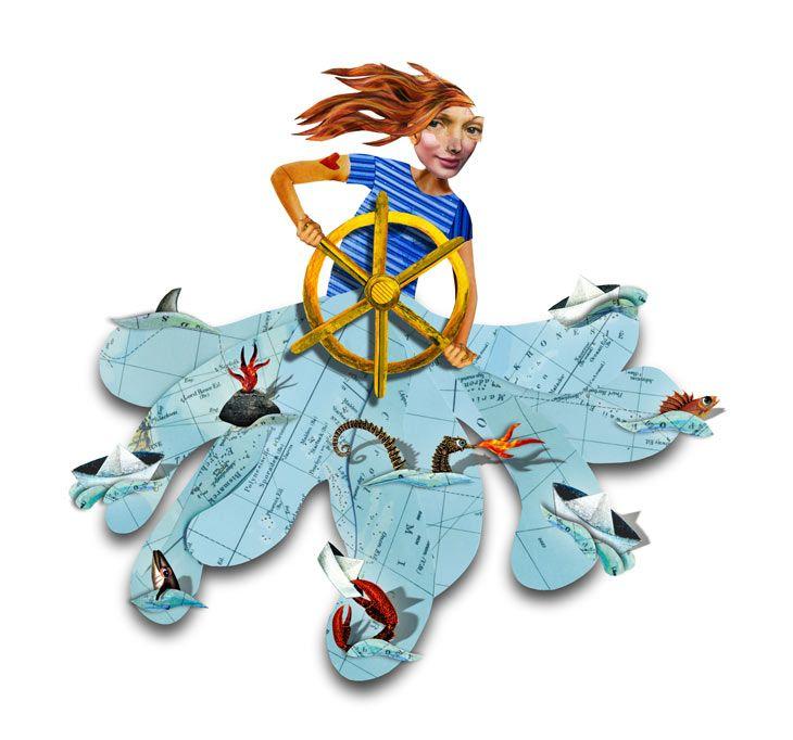 vrouw op zee - illustratie Klaartje Berkelmans