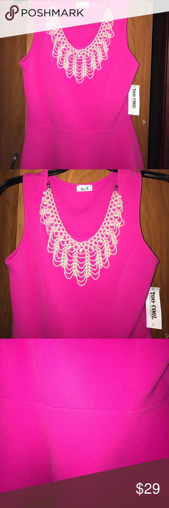 Hot pink peplum top with cute pearl necklace Adorable top with pearl necklace attached to it blue s Tops Tank Tops