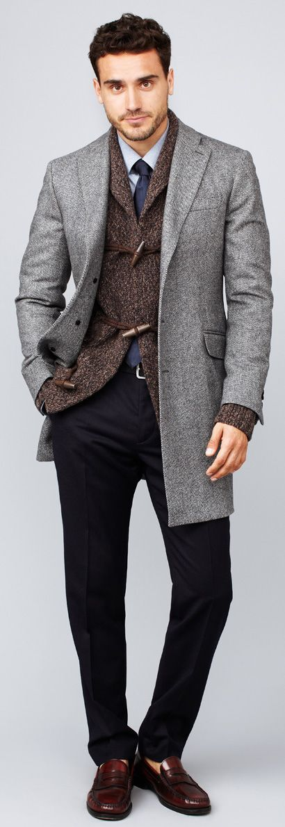 Shop this look for $546:  http://lookastic.com/men/looks/tie-and-shawl-cardigan-and-overcoat-and-loafers-and-dress-pants-and-dress-shirt/1518  — Navy Tie  — Dark Brown Shawl Cardigan  — Grey Overcoat  — Burgundy Leather Loafers  — Navy Dress Pants  — Light Blue Dress Shirt