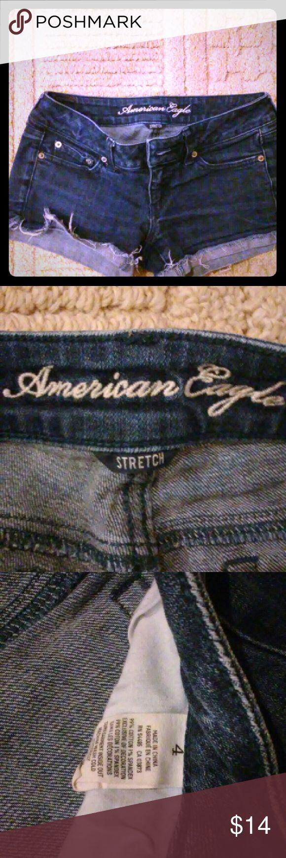 American Eagle cut off jean shorts Size 4 cut off jean shorts. Barely worn. American Eagle Outfitters Shorts Jean Shorts
