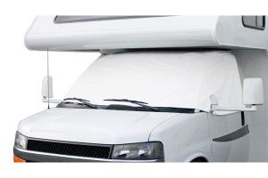 Are you looking for a windshield cover for your RV? Check out this Class C Motorhome Windshield Cover. I no longer have to hang our curtain around the front seats. It really is great! https://thecampinggypsy.com/rv-accessories/class-c-motorhome-windshield-cover