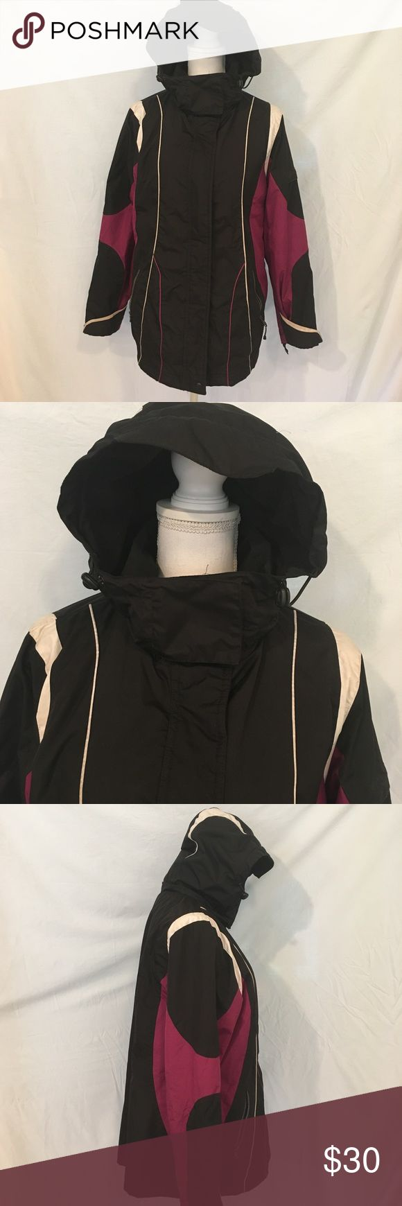 SJB Active Marroon and Black Winter Coat SJB Active Marroon and Black Winter Coat. Very warm winter coat. Great for outdoor activities like skiing and snowboarding. Phone and wallet pouches inside. Zipper pockets on outside. Coat is lined and is complete with hood. SJB Active Jackets & Coats