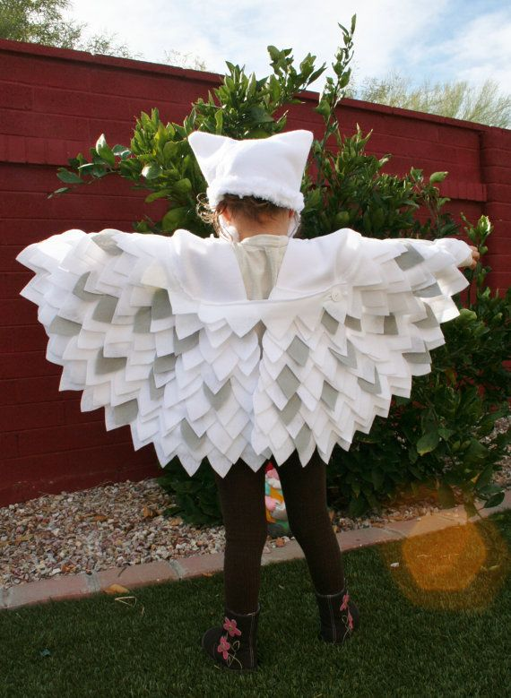 owl costume snowy owl imagination play dress up hedwig harry potter halloweencircle skirt stitched on triangles - Baby Owl Halloween Costumes