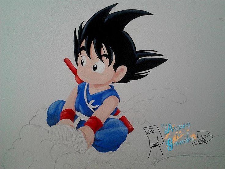 Pintura en pared para cuarto infantil: Goku pequeño en su nube