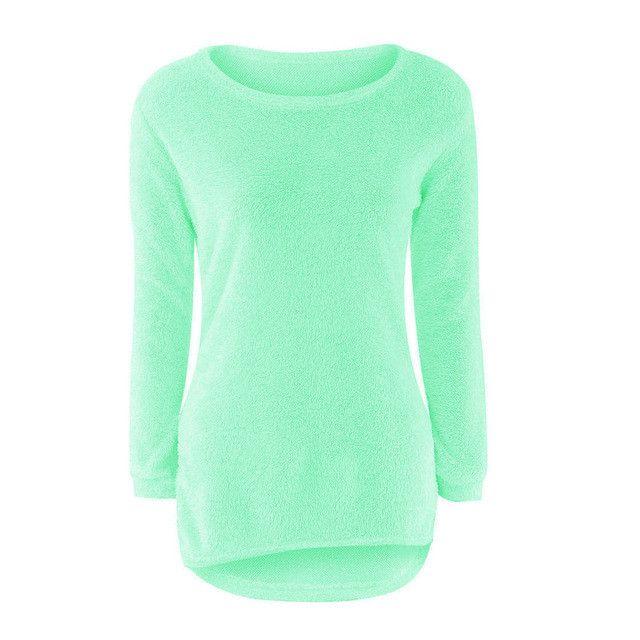 Fashion 10 Colors Women Casual Long Sleeve Fleece Jumper Sweater Lady Autumn Winter Warm Loose Irregular Pullover Camisola Oct19