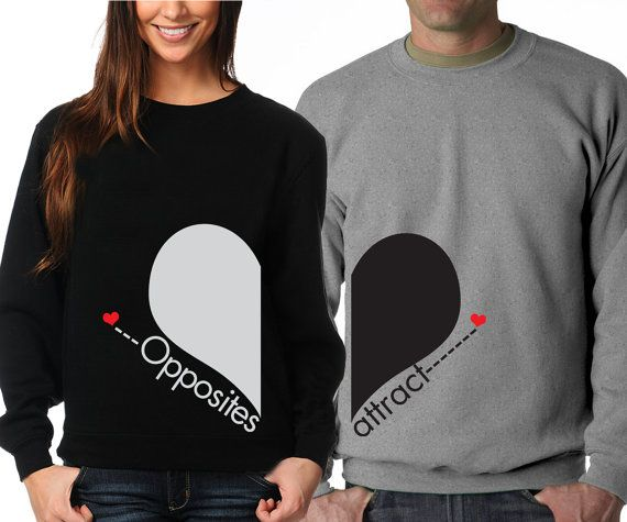 Opposite Attract  Cute couples matching crewnecks by DALEOS, $44.00