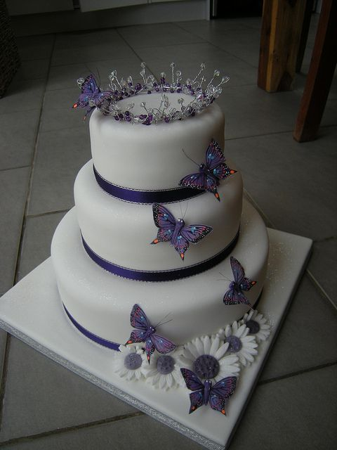Cadburys purple butterfly motif cake