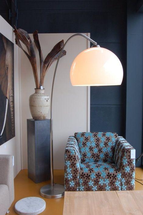 vloerlamp 51170: modern, metaal, staal , rvs, kunststof , plexiglas, wit, rond ...