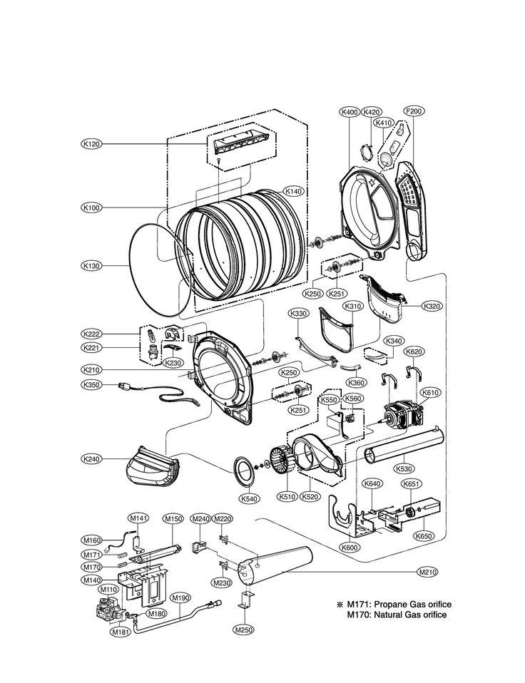 DRUM & MOTOR Diagram and Parts List for LG Dryer-Parts model # DLGX3002P